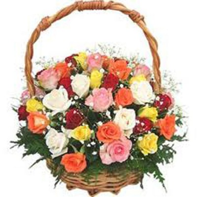 Fresh Flowers to India - 36 Mix Roses in Basket