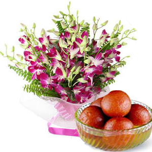 orchids with gulab jamun to India