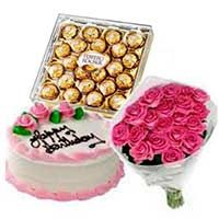 pink roses with vanilla cake to India