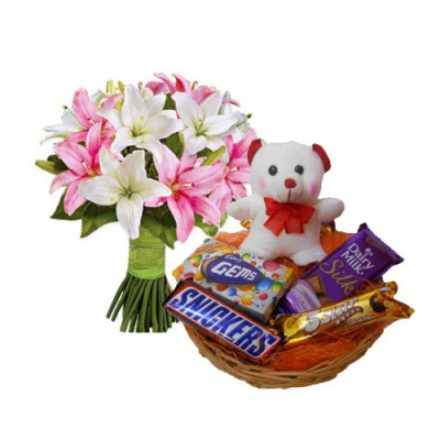 Bunch of 5 Asiatic Lily Stem With Basket of Assorted Chocolates and 6 Inches Teddy