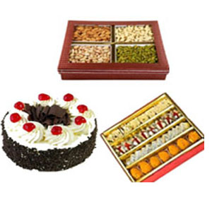 black forest cake with assorted sweets to India