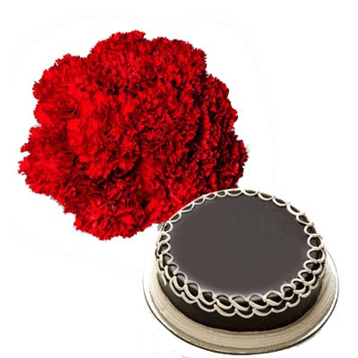 red carnations with chocolate truffle cake to India
