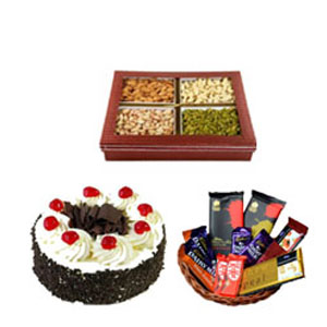 basket of assorted chocolates with mix dry fruits to India
