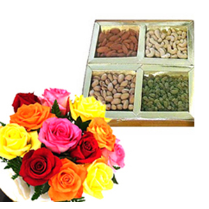 Anniversary Dryfruits and Flowers to India