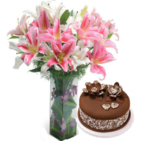 Flowers with Cakes to India